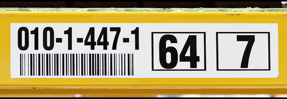 Custom Barcoded rack or beam labels