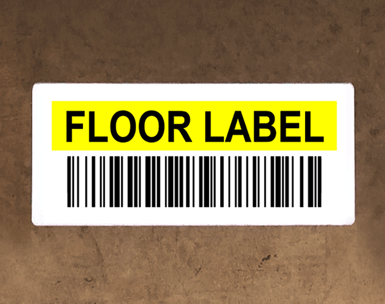 Bin labels with custom colors and variable barcodes